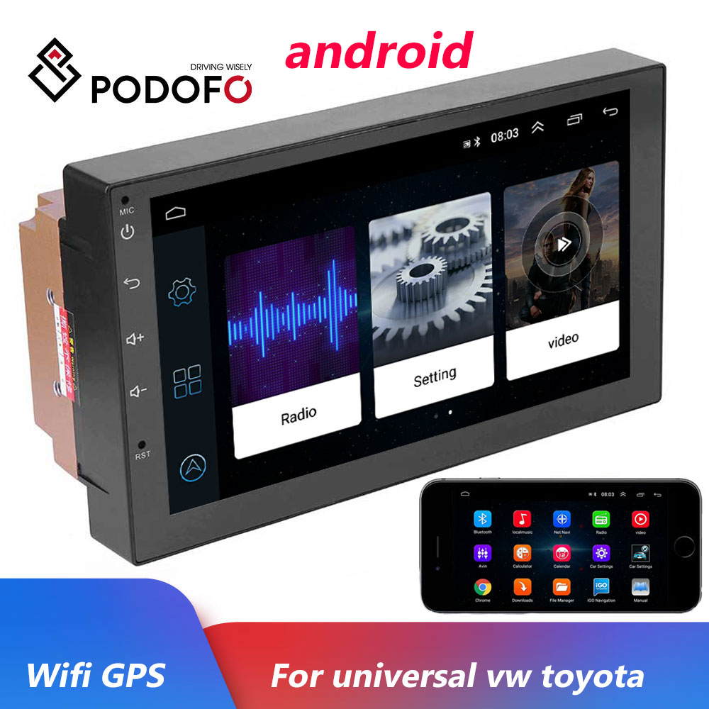 Podofo Android 2 Din Car Radio Multimedia Video Player Universal Auto Stereo GPS MAP For Volkswagen Nissan Hyundai Kia Toyota