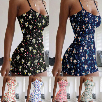 New Streetwear Flower Print Cute Women Short Summer Dress Plus Size Beachwear Spaghetti Strap Sexy Bodycon Mini Harajuku