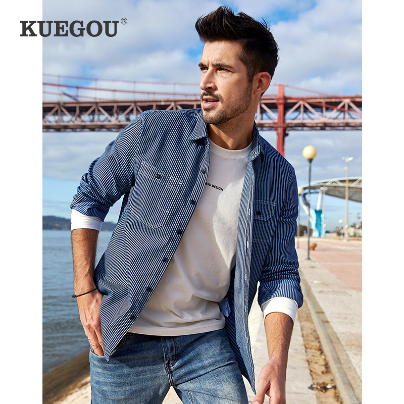 KUEGOU 2020 Men Denim Shirt Spring South Korean Style  Edition Fashion Leisure Stripe Long Sleeve Shirts Top Plus Size BC-6116