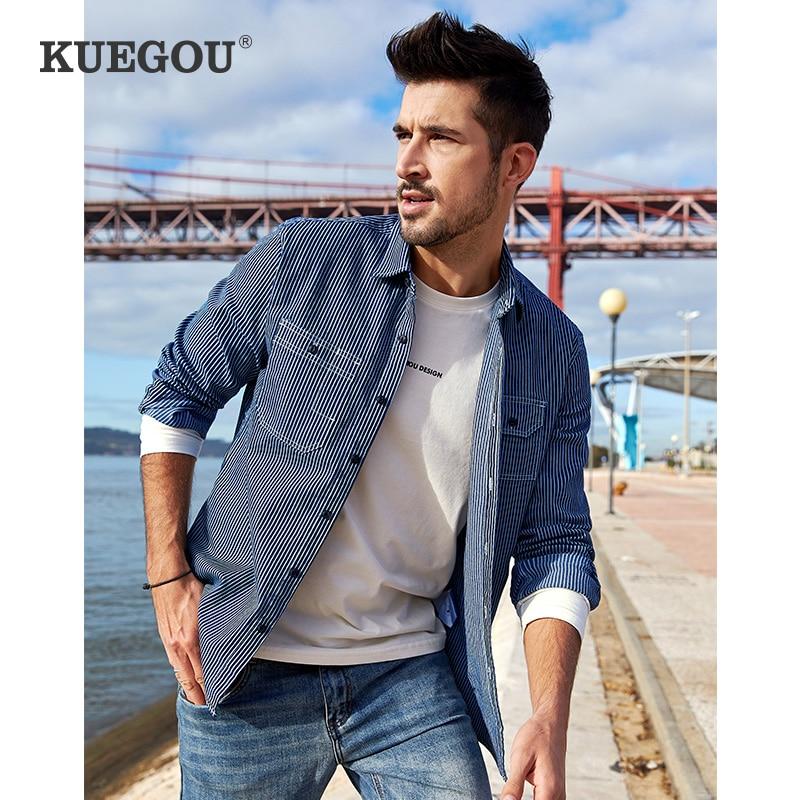 KUEGOU 2020 Men Denim Shirt Spring South Korean Style  Edition Fashion Leisure Stripe Long Sleeve Shirts Top Plus Size BC-6116