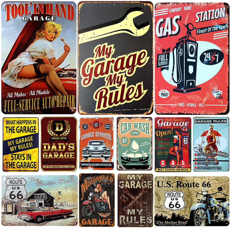 Garage Plaque Metal Vintage Tin Sign Pin Up Shabby Chic Decor Metal Signs Vintage Bar Decoration Metal Poster Pub Metal Plate
