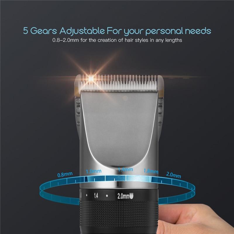 Professional Low Noise Rechargeable Haircut Machine Adjustable 0.8-2mm Electric Shave Titanium ceramic blade Hair Clipper P49 2