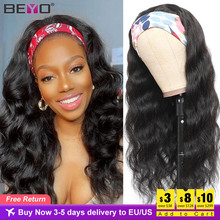 Body Wave Headband Wig Human Hair Wigs For Black Women Brazilian Scarf Wig No Gel  Glueless Remy Hair Curly Human Hair Wig Beyo