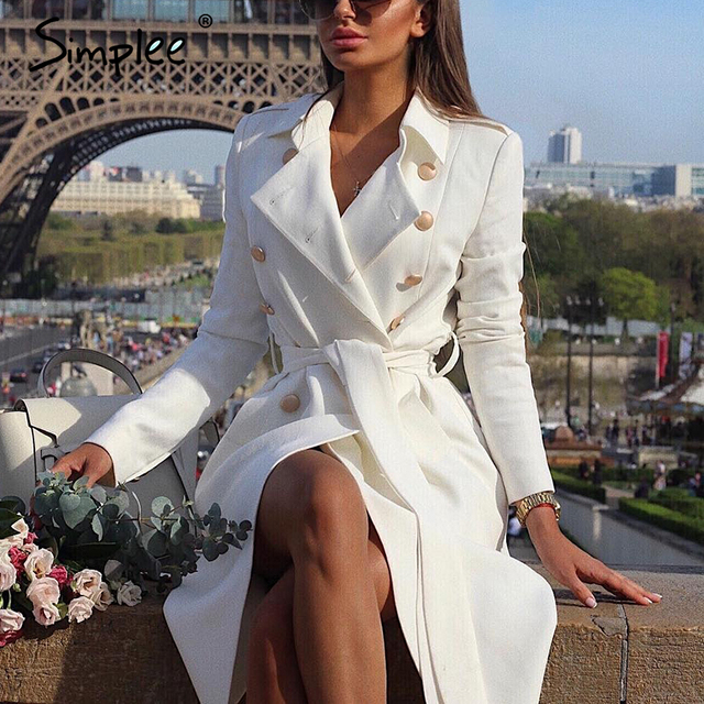 Simplee Vintage double breasted white trench coat for women Sashes slim long trench female Winter office solid trench dress 1