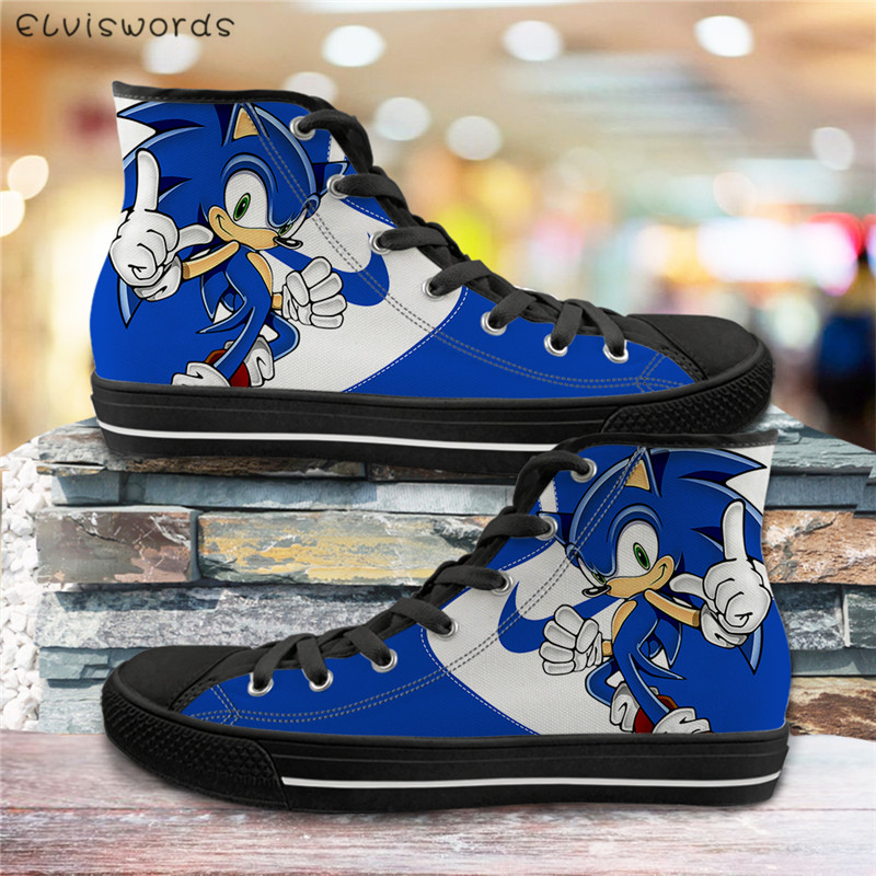 ELVISWORDS Hot Game Sonic The Hedgehog <font><b>3D</b></font> Print Vulcanized <font><b>Shoes</b></font> Men Canvas High Top Flats Casual Breath Sneakers for Teen Boys image