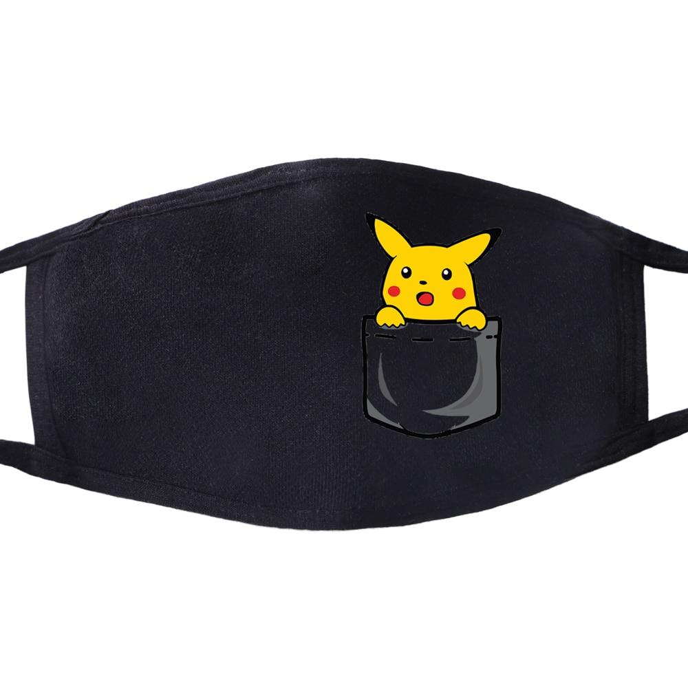 Funny Japanese Anime Pokemon Pikachu Mouth Mask Masque Cartoon Lovely Masks Dust-proof Masks Pikachu In The Pocket Face Masks