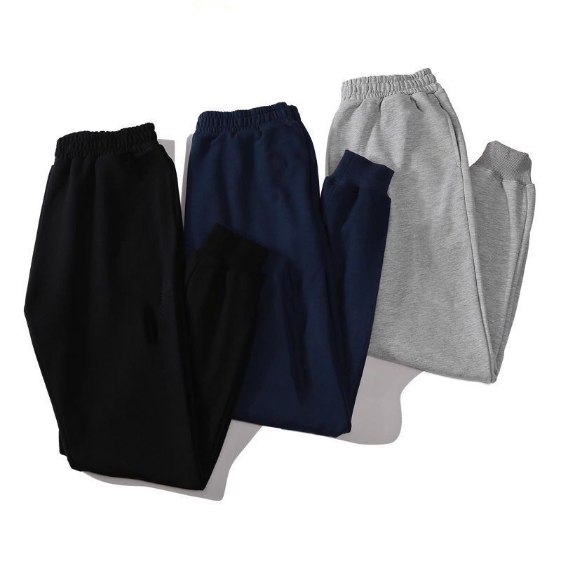 Autumn Looped Pile Athletic Pants Beam Leg Bib Overall Men Pure Cotton Casual Pants Trousers Closing Plus Velvet Sports Sweatpan