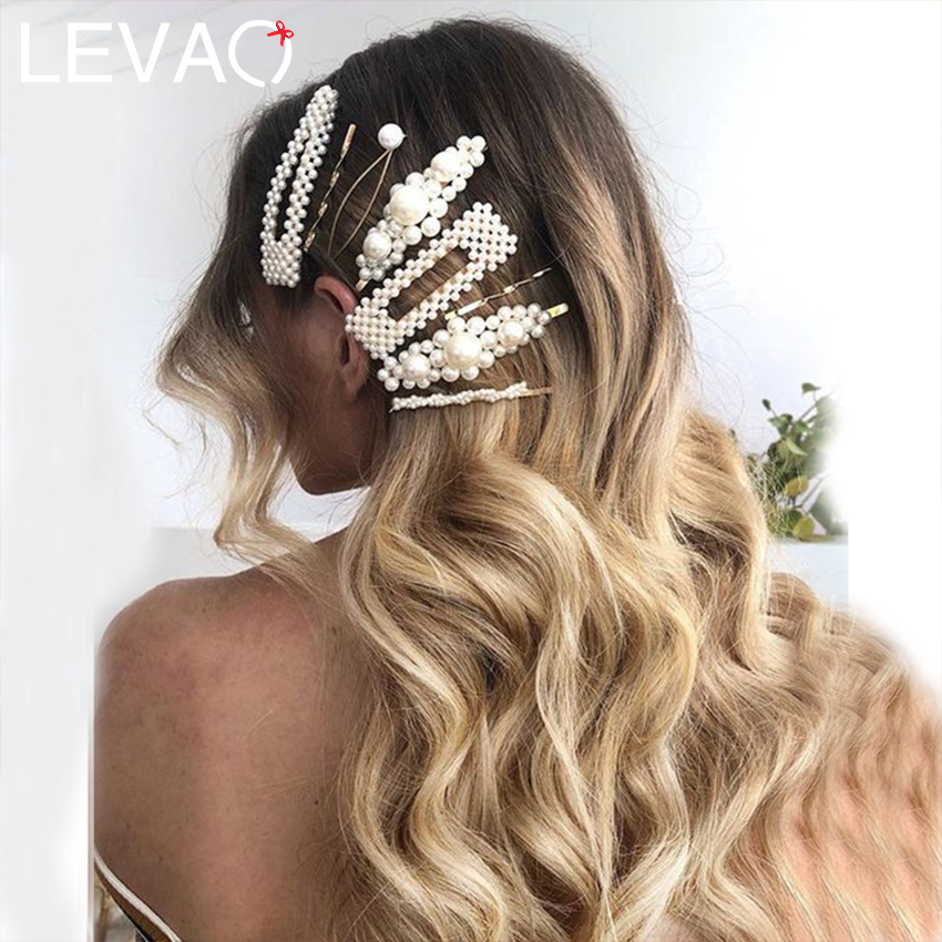 Levao 2 Pcs/Lot Simple Pearl Hairpin Twist Gold Hairpins Square Teardrop One-line Hair Clips Female Wedding Hair Accessories