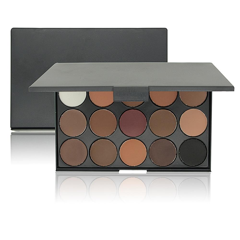Fashion Eye Makeup 15 Color Matte Shimmer Pigment Nude Eyeshadow Palette Cosmetic Make Up Set EARTH Tone Eye Shadow