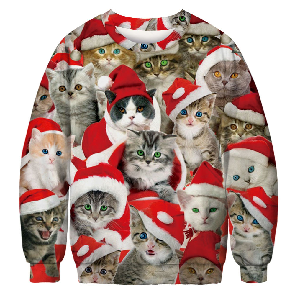 Autumn Women's Sweatshirt Christmas Loose Round Neck Funny Print Ladies Hoody Cat Kawaii Female Top Winter Warm Clothes Pusheen