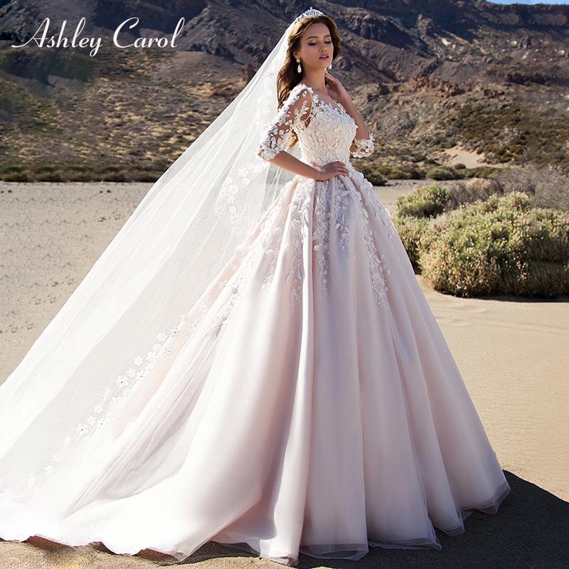 Ashley Carol Sexy Scoop 3d Beaded Flowers Princess Wedding Dress