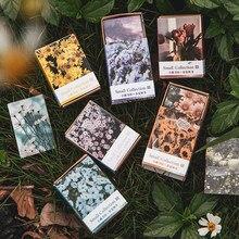 100 Uds Primavera Verano Otoño Invierno de papel Kraft Mini tarjeta de felicitación Vintage postal con flores Sobre Carta decoración LOMO tarjetas