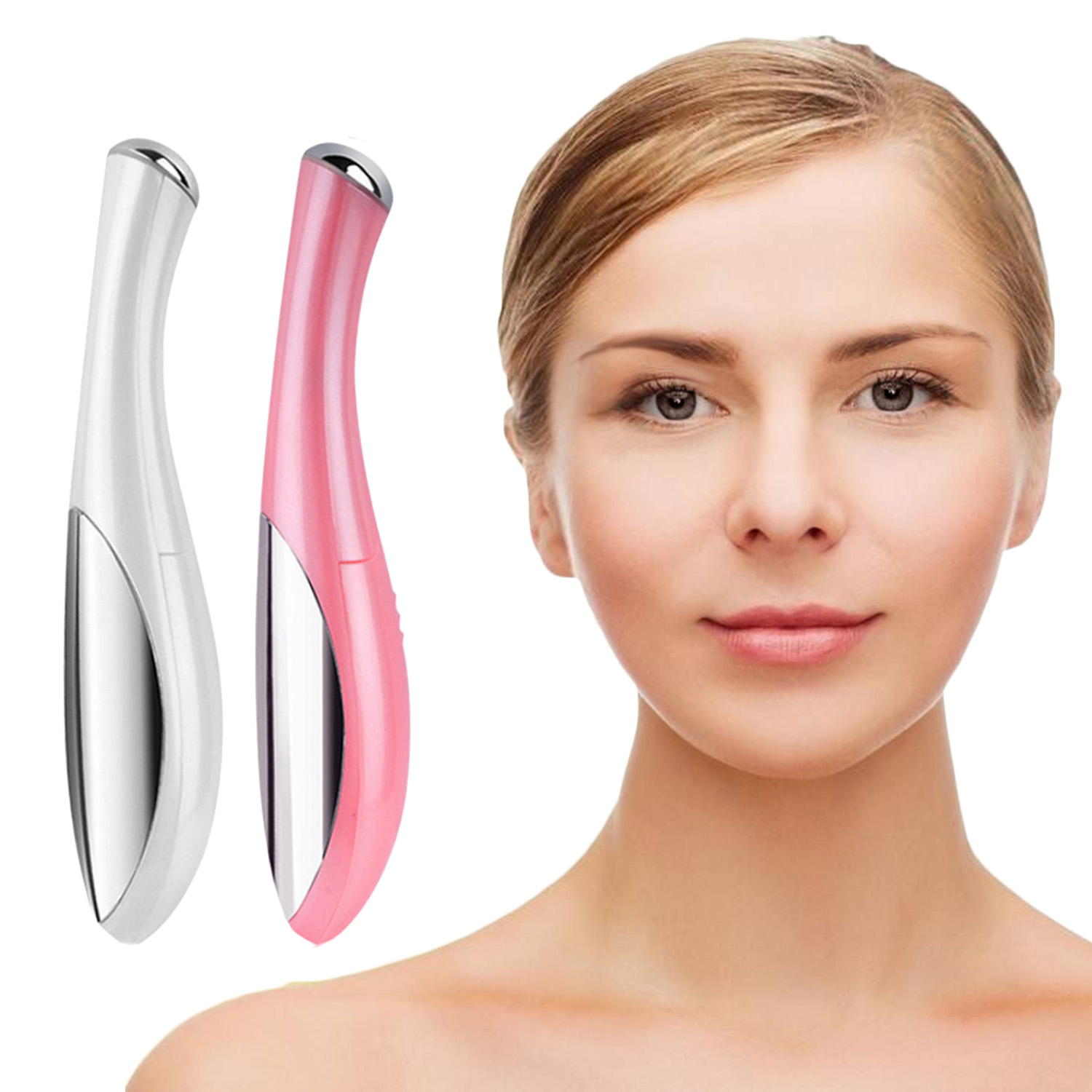 Pen-Type Electric Eye Facial Massager Wand Anti-Aging Skin Beauty Care Tool Supplies For Eye Wrinkle Puffiness Dark Circles