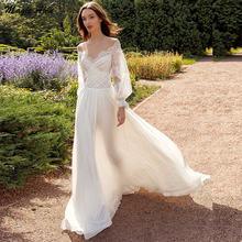 Кружевное шифоновое свадебное платье в стиле бохо magic awn