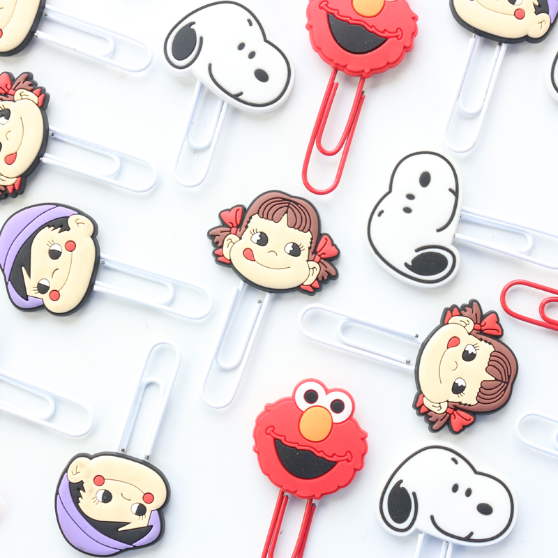 Domikee Cute Cartoon School Kids Paper Clips Bookmarks Cute Student Index Memo Pad Organizer Clips Set Stationery Supplies 2pcs