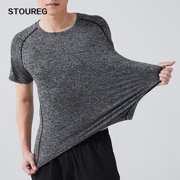 Męskie sportowe koszulki do biegania szybkie suszenie męskie siłownia sportowe koszulki top do biegania koszykówka piłka nożna koszulki treningowe mężczyźni sportsshare tanie i dobre opinie STOUREG Wiosna Lato AUTUMN Winter spandex Pasuje prawda na wymiar weź swój normalny rozmiar