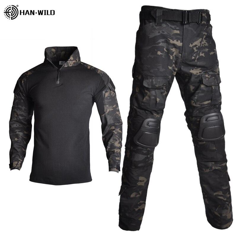 Taktik takım elbise askeri üniforma eğitim takım elbise kamuflaj avcılık gömlek pantolon Paintball giysileri setleri ücretsiz pedleri 10 cepler