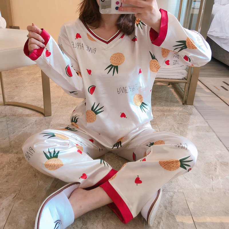 Pajamas Women's Spring And Autumn Long Sleeve Viscose Cute V-neck Pineapple Two-Piece Set Korean-style Students Silk Thin Home W