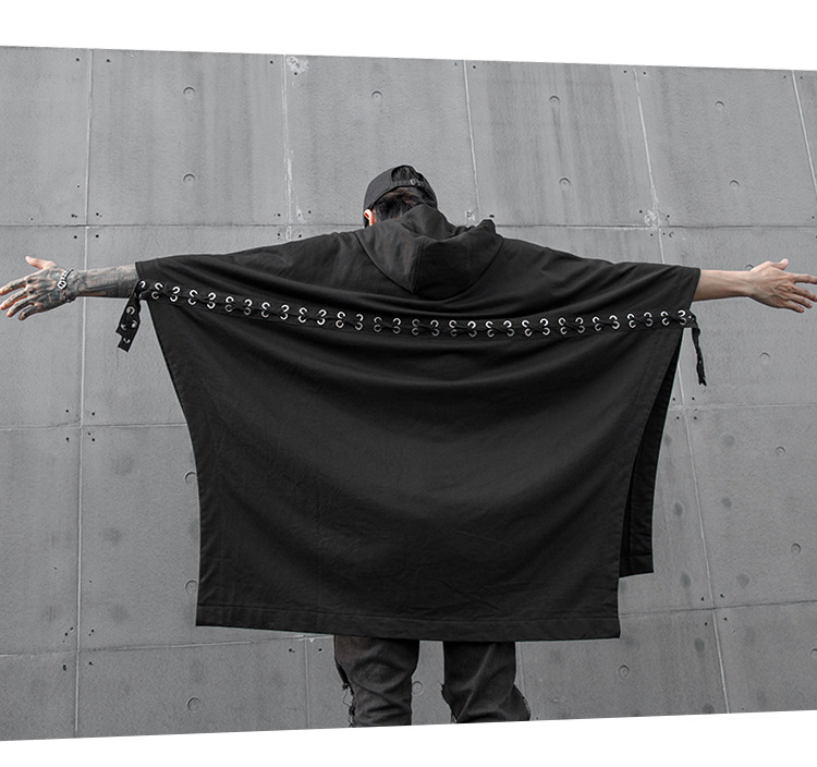Осенне-зимняя мужская футболка с капюшоном и шнуровкой сзади в стиле хип-хоп, винтажная панк-уличная одежда для ночного клуба, футболки для сцены