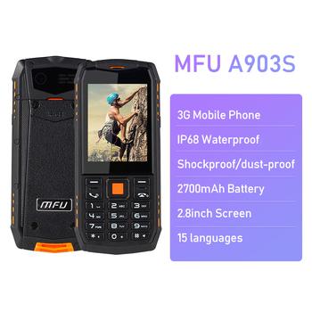 Wodoodporna odporna na wstrząsy telefonów komórkowych MFU A903S 3G IP68 2 8 #8222 2700 mAh podwójny aparat fotograficzny podwójna karta SIM FM latarka GPRS SOS telefonów komórkowych tanie i dobre opinie H-mobile 2 karty SIM 240x320 Micro Usb Odpinany 128 m Funkcja telefony 128 M Inne ≤1MP Nonsupport Normalny ekran Nowy
