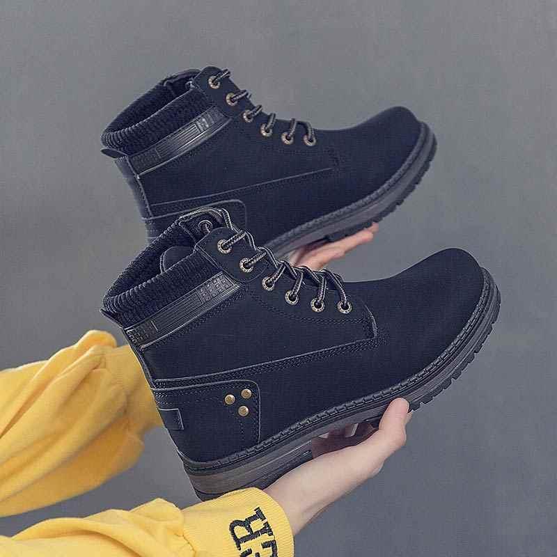 Ayakkabı kadın kar botları 2019 yeni rahat ayakkabılar kadın sonbahar kış yarım çizmeler kadınlar katı dantel-up bayanlar ayakkabı martin patik