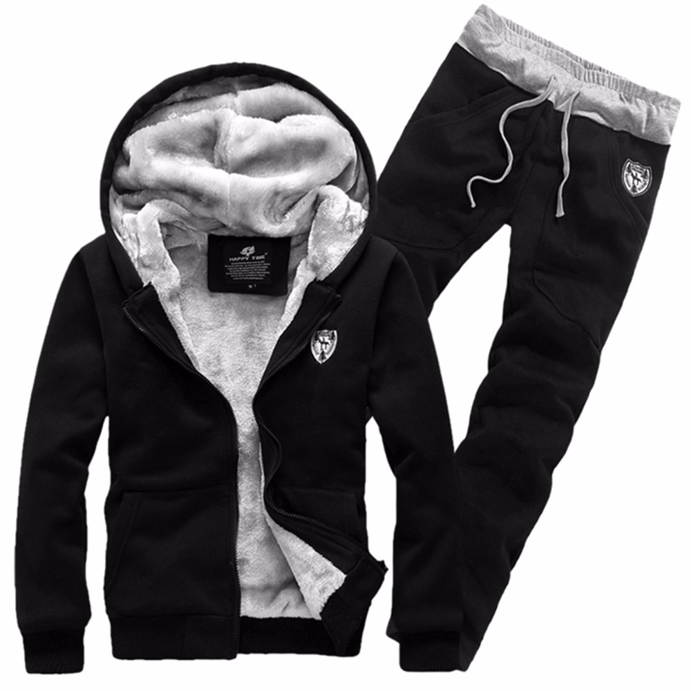 Brand Fashion Thick Velvet Sporting Suit Men Warm Hooded Tracksuit Track Hoodie Sweat Suits Set Zipper Black Sweatshirts
