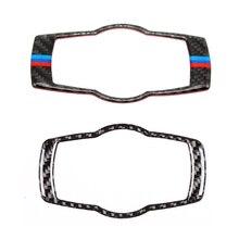 Para BMW Serie 3 E90 E92 E93 2005, 2006, 2007, 2008, 2009, 2010, 2011, 2012 de fibra de carbono faros interruptor de cubierta de la etiqueta engomada Trim