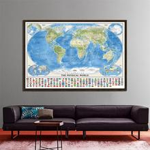 цена на The World Physical Map With World Tectonics And Climate Non-woven World Map With National Flags 150X100cm