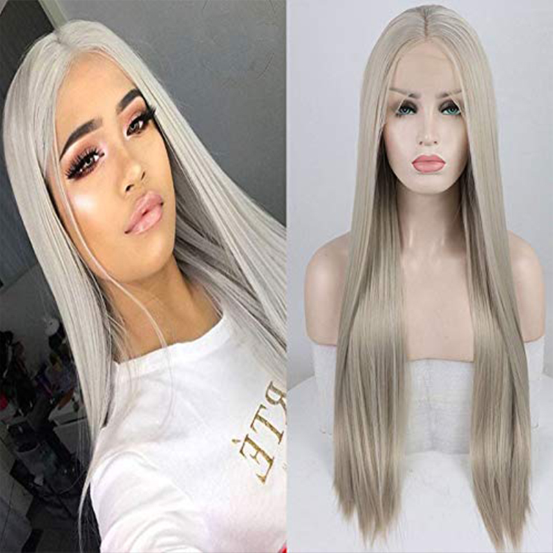 Fantasy Beauty Long Silky Straight Synthetic Lace Front Wig Platinum Grey Heat Resistant Fiber Naurtral Hairline Wigs For Women