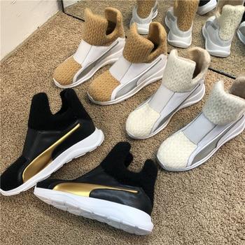 Zapatillas de deporte de piel auténtica para mujer, botines cálidos sin cordones, color blanco, zapatos informales, gran oferta, 2020 1