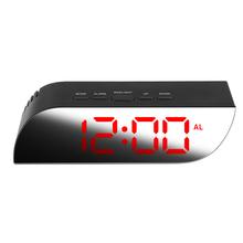 Mirror Digital LED Alarm Clock Snooze Display Time Night Led Table Alarm Clock Temperature Calendar Table Alarm Clock Home Decor tanie tanio Cyfrowy Z tworzywa sztucznego Nowoczesne plastic mirror electronic external power supply battery