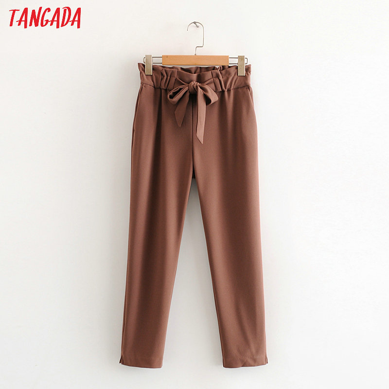 Tangada Fashion Women Solid Casual Pants Trousers With Bow Tie Pockets Buttons Lady Pants Pantalon HY36