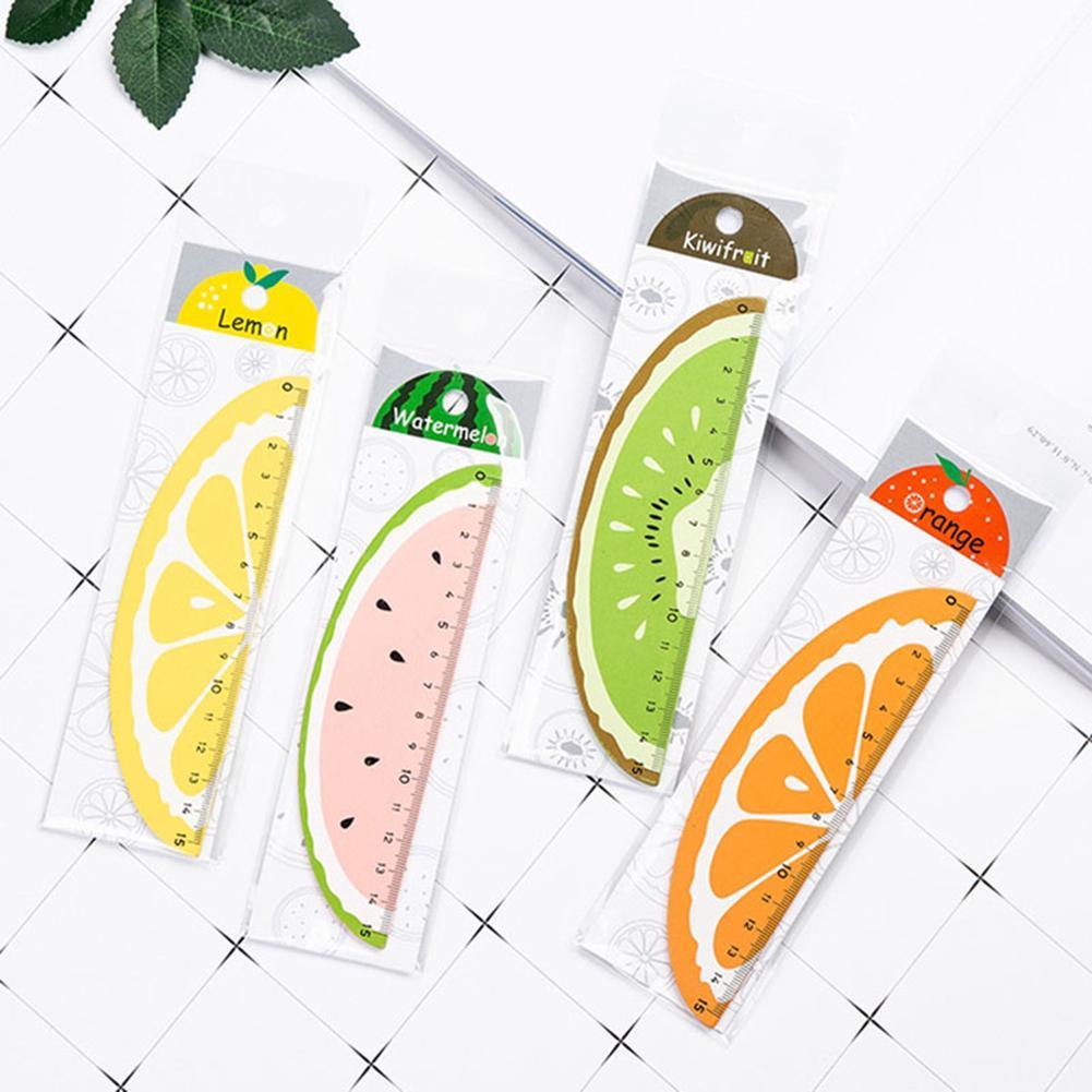Cute Cartoon Watermelon Orange Lemon Kiwi Plastic Ruler Students Stationery