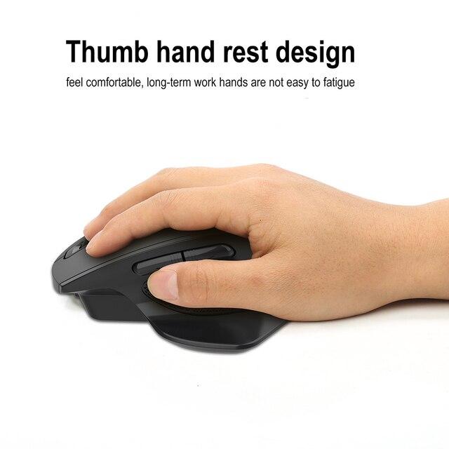 Jelly Comb-ratón inalámbrico para videojuegos, recargable, 2,4G, diseño ergonómico, 6 botones, silencioso, para portátil, Notebook, escritorio 4