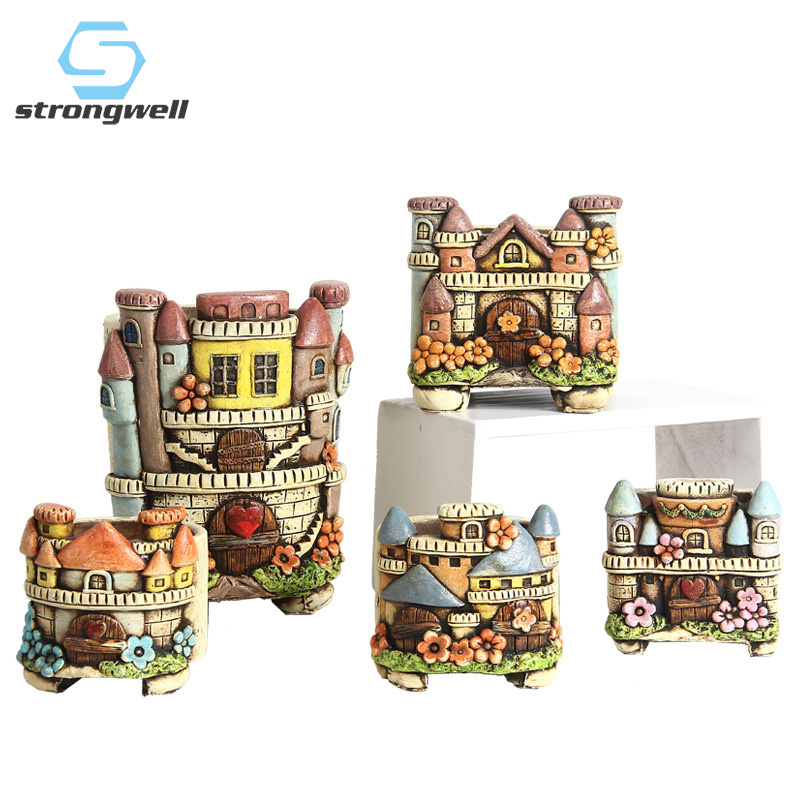 Strongwell European Castle Embossed Flower Pot Garden Plants Hand Made Painted Nordic Flowerpot Home Decoration Accessories Gift