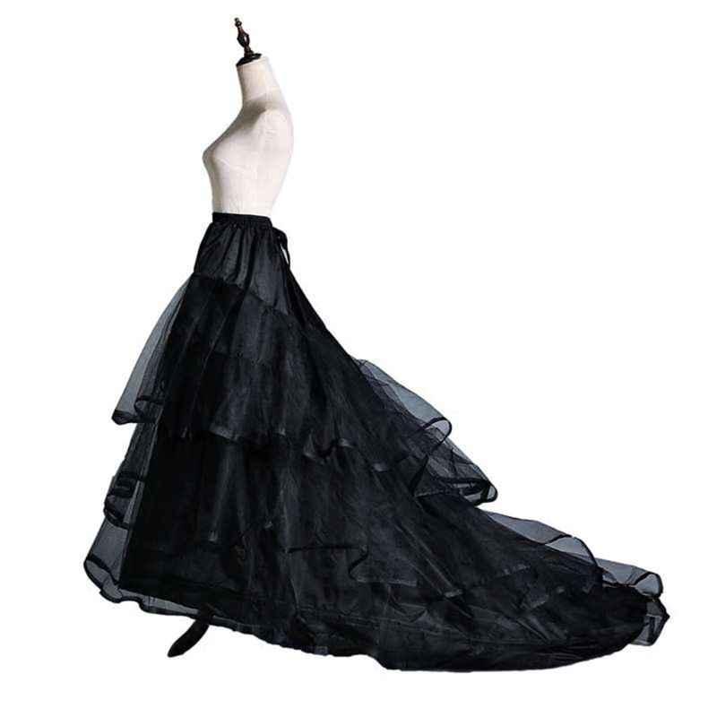 3-Layer เส้นด้าย 2-hoops ชุดเจ้าสาวยาวผลกำไรในรอบกระโปรง Petticoat Elastic เอวปรับ Fishtail ลื่นกระโปรง