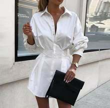 Женское платье рубашка с длинным рукавом и глубоким v образным