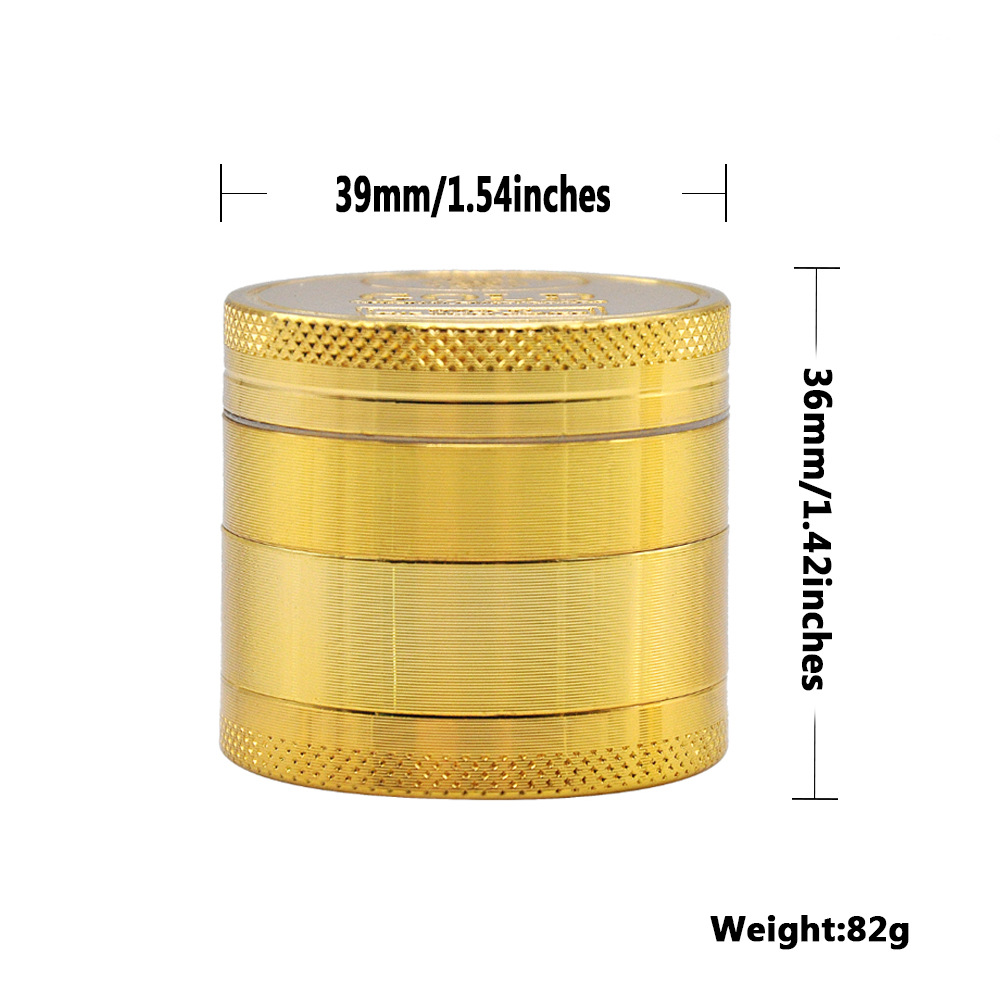 2 Size Available 4 Layers Dia.36mm/43mm Gold Zinc Alloy Metal Herb Grinder spice/tobacco Crusher Tobacco Spice Hand Muller 2