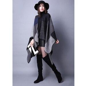 Image 3 - Manta Reversible de Invierno para mujer, suéter a cuadros, Poncho, capa, chal y chal, cárdigans gruesos, bufanda de pashmina cálida