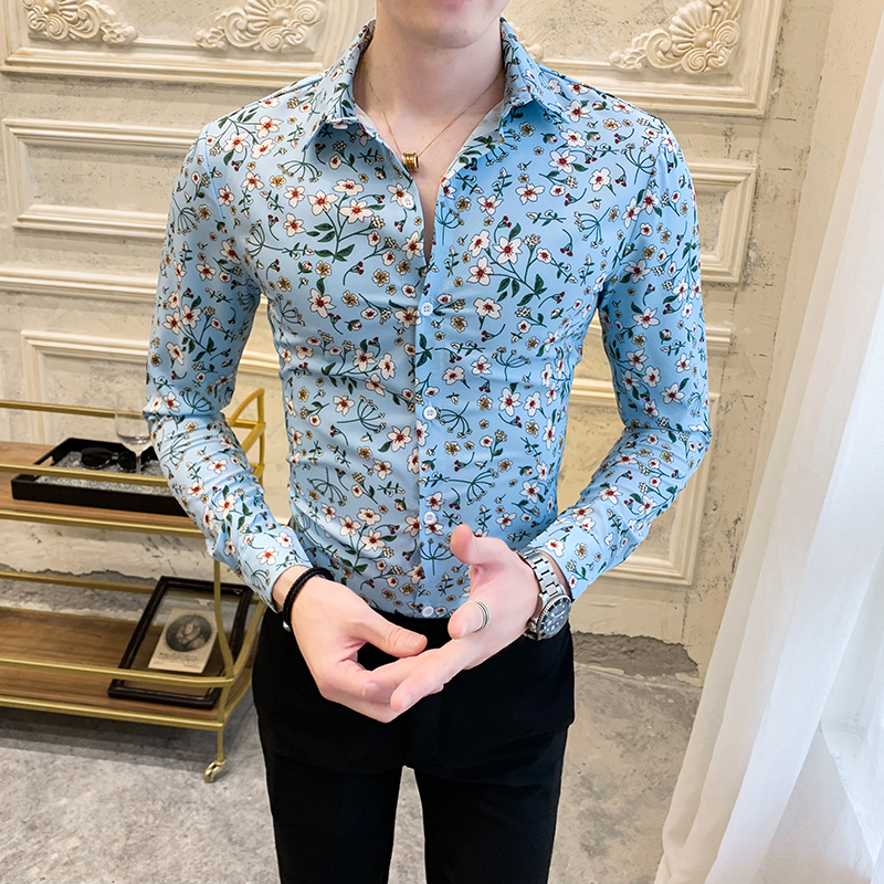 Fashion Floral Shirt Men 2020 Spring New Long Sleeve Men's Social Shirts Casual Streetwear Slim Fit Night Club Prom Tuxedo 3XL
