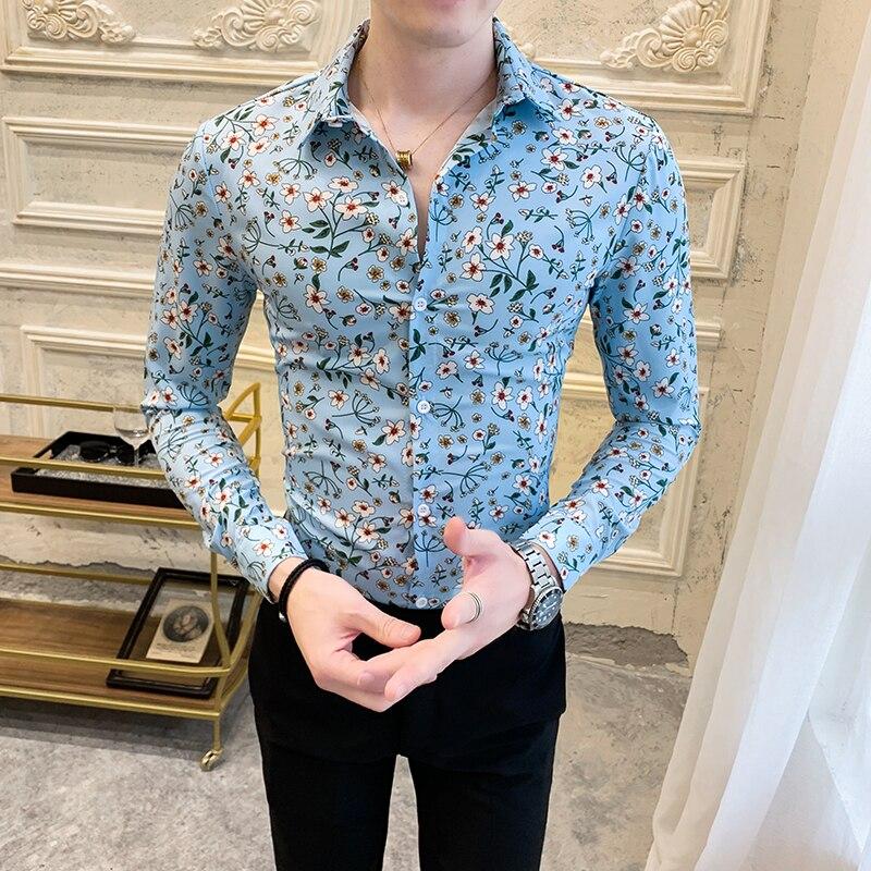 Fashion Floral Shirt Men 2020 Spring New Long Sleeve Men's Social Shirts Casual Streetwear Slim Fit Night Club Prom Tuxedo 3XL