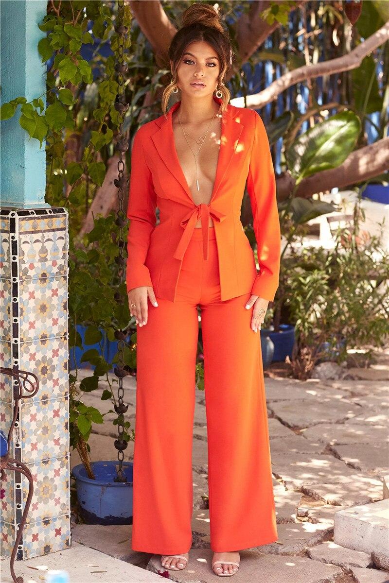 PFFLOOK Work Ol Suit Female Blazer And Pants Suit Set Female Coat V Neck Sexy Chic Suit Women Office Set 2 Pieces Outfits Female 17