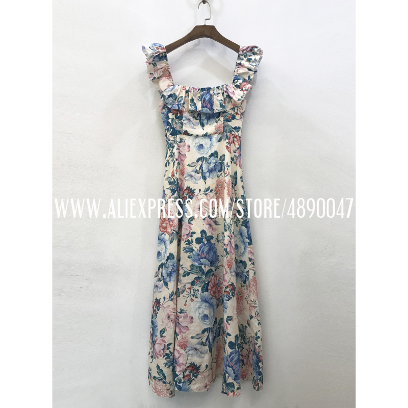 Women's Linen Print Long Dress Square Collar Sleeveless High-quality Casual Floral Dress Same Color Headdress Two-piece