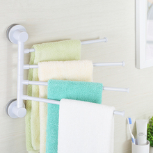 4 Arms Towel Holder Rotating Bar Creative Bathroom Kitchen Wall-Mounted Hanger Rail Plastic Suction Cup Rack
