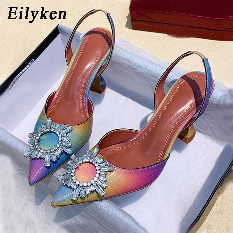 Eilyken 2020 Summer Women Pumps New Design Crystal Pointed Toe Back Strap Spike High Heels Ladies Elegant Dress Shoes Size 34-42