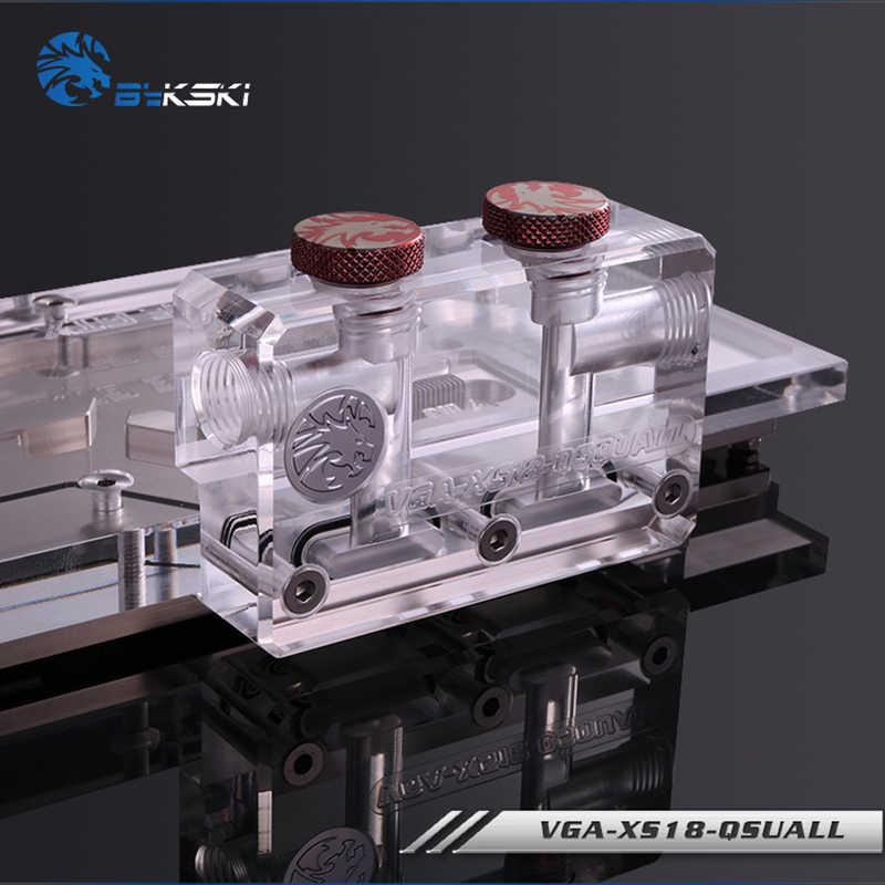 Bloque Terminal de GPU BYKSKI para bloque de agua GPU acrílico multifuncional cambio de dirección lado superior