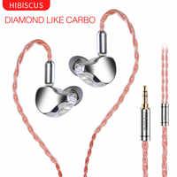 FAAEAL Hibiscus auricular diamante como diafragma de carbono dinámico auriculares estéreo potente Monitor etapa IEM auricular