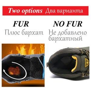 Image 2 - 男性冬の雪のブーツスーパー暖かい男性ハイキングブーツ高品質防水レザースニーカー屋外ノンスリップ男性作業靴 39 47