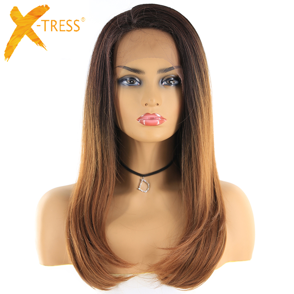 X-TRESS Synthetic Lace Front Wigs With Baby Hair Heat Resistant Fiber Hairpiece Brown Ombre Color Straight Lace Wig Free Parting