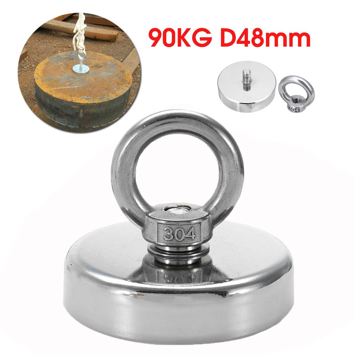 D48mm Strong Powerful Neodymium Magnet Hook Salvage Magnet Sea Fishing Equipments Holder Pulling Mounting Pot With Ring